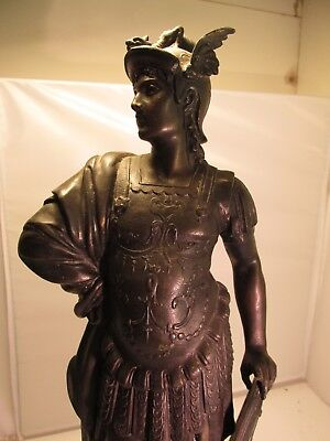 large spelter soldier on wooden base c1900    heavy 3.2 kilo