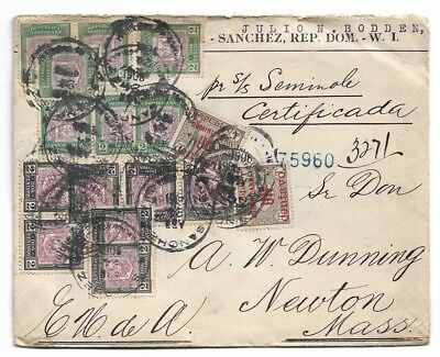 1906 Certified Mail Cover Dominican Republic Steamer To AW Dunning Newton Ma USA