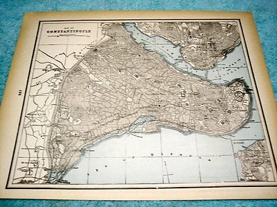 Antique Map Of Constantinople-  Shows Golden Horn - Bath Of Mohamed - 1893 Map