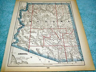 Antique Map Of Arizona - Printed In 1893 Showing Military Reservations