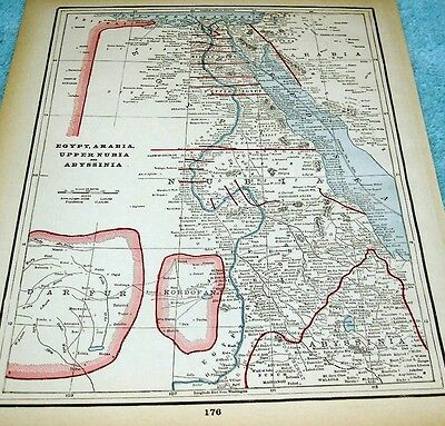 ANTIQUE MAP OF EGYPT, ARABIA, UPPER NUBIA and ABYSSINIA   - PRINTED IN1893