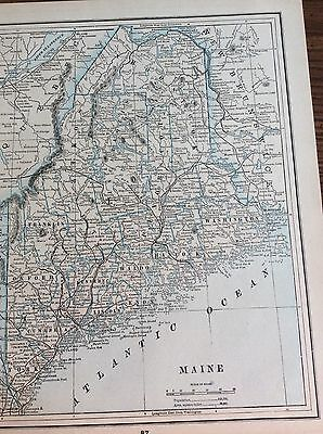 Antique Map Of Maine. - Printed In 1893 Showing Main Central Rr., Fort Kent