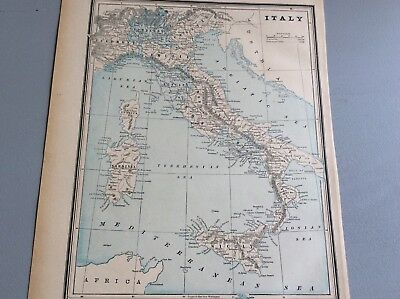 """Antique Map Of Italy   8 X 11""""  Nice Map  - German Alps -Rome-   Printed In 1893"""