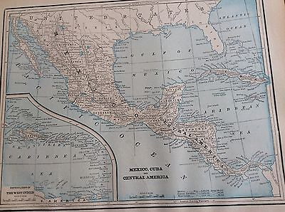 Antique Map Of Mexico- Cuba & Central  America - Very Nice - Printed In 1893