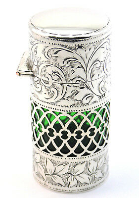 c1909, ANTIQUE EDWARDIAN HM SILVER OVERLAID GREEN GLASS PERFUME SCENT BOTTLE