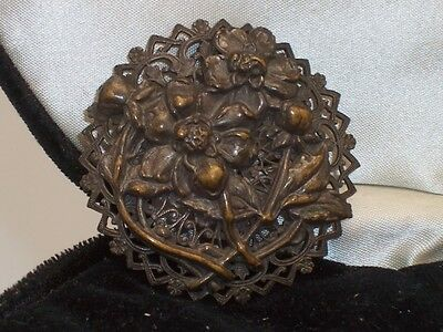 Vintage Art Deco Rustic Brass Floral Bouquet Brooch