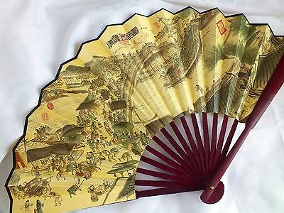 CHINESE L 33cm PROSPERITY LIFE YELLOW SILK HAND WALL FAN MEN BIRTHDAY PARTY R2