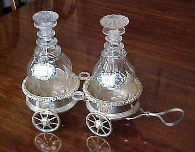 1800s DOUBLE DECANTER WAGON OLD SILVER PLATE FRUITWOOD BASES WITH ARMORIAL CREST