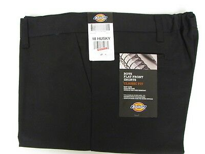 NEW Dickies Boys Black Shorts School Uniform Size 18 H Husky Flex Classic Fit