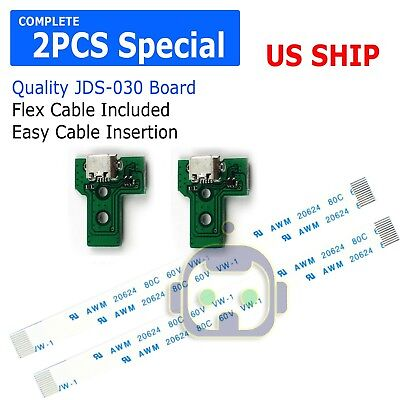 2PCS USB Charging Port Socket Board Controller JDS-030+12 Pin Cable for Sony PS4