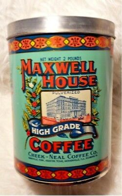 Maxwell House Coffee Can Two Pound Green Metal Tin Canister made by J Chein Co.