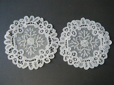 18c Antique set 2 doilies Princesses tape lace flowers H made design Brussels