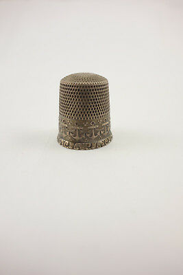 Antique Sterling Silver Sewing Thimble Raised Anchors Bell in Star Mark Sz12