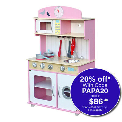 NEW ROVO KIDS Wooden Kitchen Pretend Play Set Kids Toy Home Cookware Toddlers