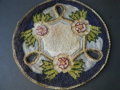18c original antique doily mat rug silk hooked beige pink green round 8 in.