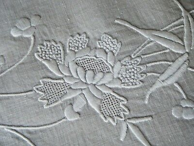 """19c Antique Tablecloth lavishly embroidered white /white floral design round 34"""""""