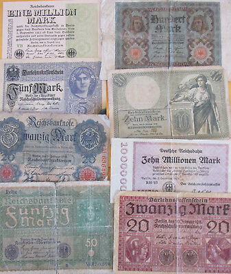 WW I Time and later  German Soldiers Original old  8  Banknotes  1906 - 1923