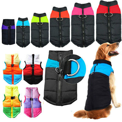 Dog Pet Warm Insulated Padded Coat Winter Puffer Vest Jacket Zip Clothes XS-5XL