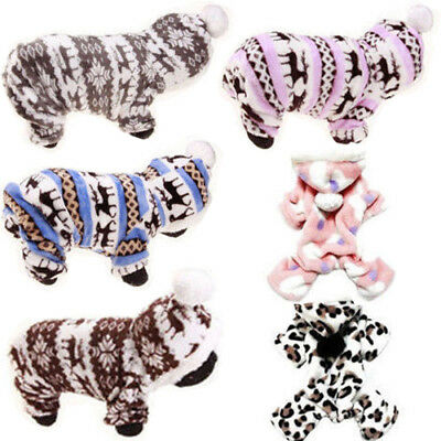 Pets Dog Jumpsuit Pajamas Hoodie Puppy Cat Jumper Warm Clothes Outfit Costume`.