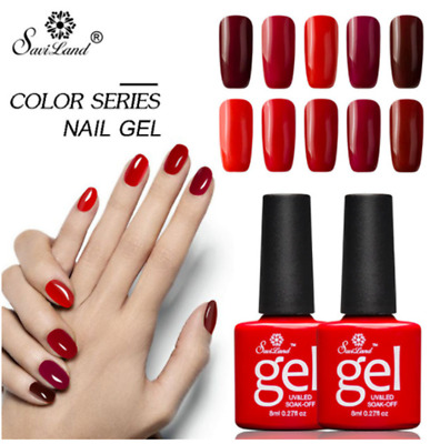 Saviland 12Pcs/set Red Series Semi Permanent Nail Gel Soak Off Long-Lasting
