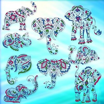 SPECTACULAR ELEPHANTS 20 MACHINE EMBROIDERY DESIGNS CD 2 sets similar but not.