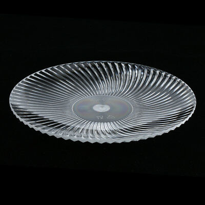 Round Clear Dish Plate Food Serving Tray Plastic Fruit Platter 15cm