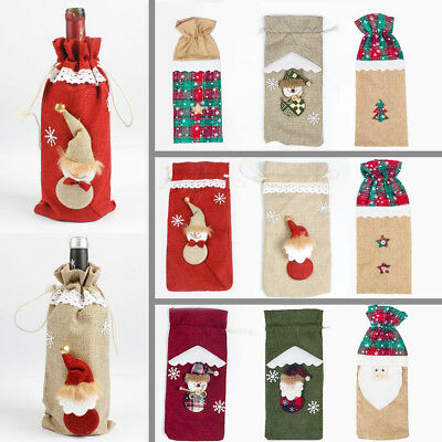 Linen Red Wine Bottle Cover Bag Santa Claus Christmas Party Table Dinner Decor
