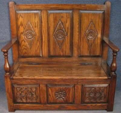 Period Style Carved Solid Oak Settle Bench