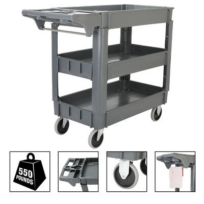 Heavy Duty 550 lb Load Utility Service Cart 3 Layers Rolling Tool Cart