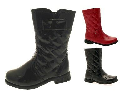 Girls Quilted Biker Boots Faux Leather Mid Calf Kids Riding Patent Winter School