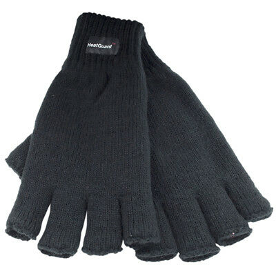 Mens Thermal Knitted Fingerless Winter Gloves Thinsulate Lined sizes M/L L/XL
