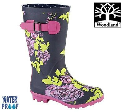 WOODLAND Girls Flower Wellingtons - Navy Pink Welly Boots - Size 10 11 12 13 1 2