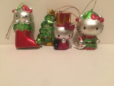 Lot Of 3 Sanrio Hello Kitty Christmas Tree  Ornaments Chrome Plated