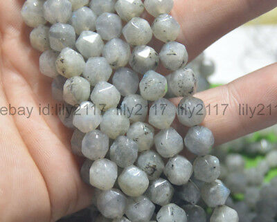 """Faceted Natural Gray Labradorite Polygons Diamond Shaped Cut Loose Beads 15"""" AAA"""