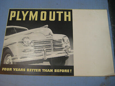 """1940s Plymouth Dealership Ad Brochure Literature, """"Four Years Better!"""" Poster"""