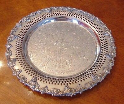 """Wm Rogers 9-1/2"""" Silverplate Serving Tray Old English Reproduction, Grape & Vine"""