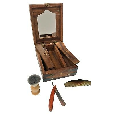 "8"" Colonial Traveling Teak and Mango Wood Vintage Shaving Box with Accessories"