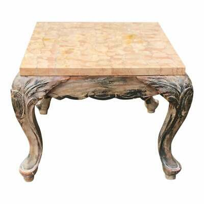 Small Antique Walnut & Marble Top End Table
