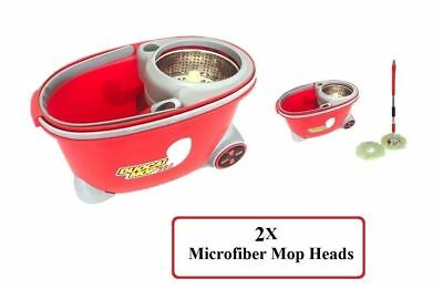 Mop 360 Rotating Spin Wheel Bucket with 2X Microfiber Head 360 Degree Rotatable