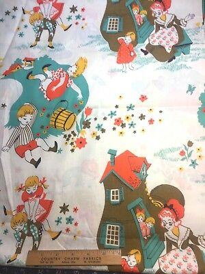 Vintage Cotton Fabric 40s 50s CUTE Juvenile Jack & Jill NOVELTY  35w 1yd