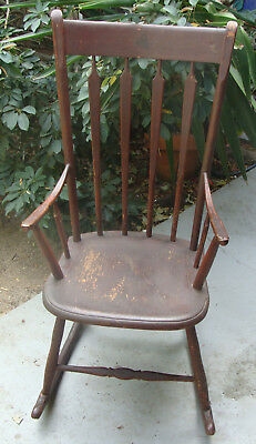 ca 1800 High back arrowback rocking chair in early original red paint  *