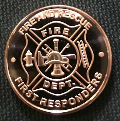 1 Oz Copper Round Fire And Rescue Frist Responders