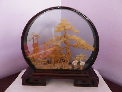 Vintage Chinese Cork Carving In Lacquered Wood And Glass Show Case 22.5 Cms Tall