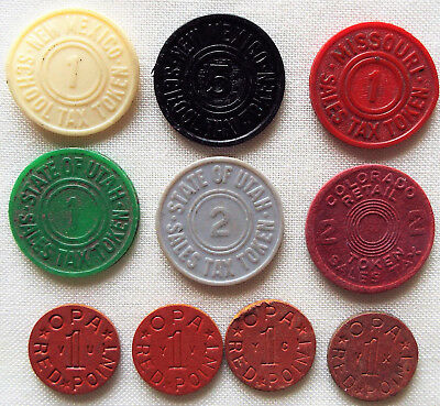 US TAX TOKENS NM MO UT CO + WWII RATION OPAs