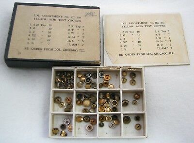 Large Lot Of Vintage Nos Yellow Gold Filled Wristwatch Watch Case Crowns Parts