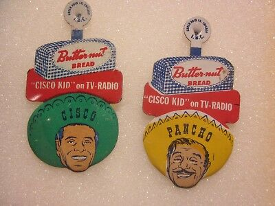 VINTAGE RARE,1950s,SET OF 2 THE CISCO KID & PANCHO, BUTTERNUT BREAD CLIP ON PINS