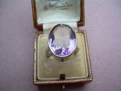 Antique Art Deco Huge Natural Amethyst Ring set in Silver Ring Size Q 1/2.