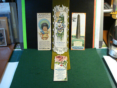 Antique Advertising Lot Of 4 Piano Bookmarks Poole Marshall Windell Schulz Mill.