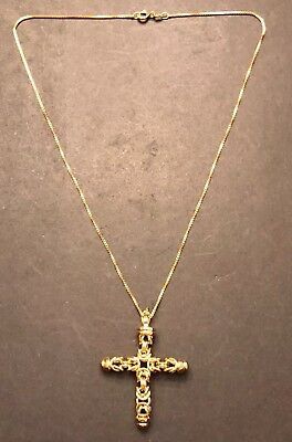 "NICE Gold Over STERLING SILVER Vermeil BYZANTINE CROSS Pendant & 18"" Box Chain"