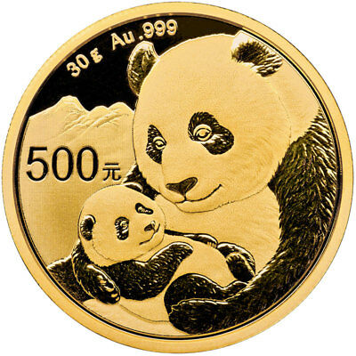 2019 China 30 g Gold Panda ¥500 Coin GEM BU SKU55884